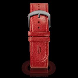 Leather strap - red-dark-silver