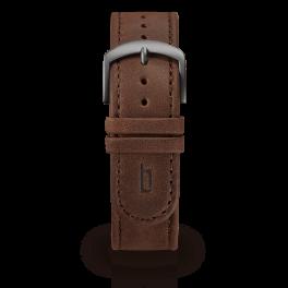 Leather strap - brown-dark-silver