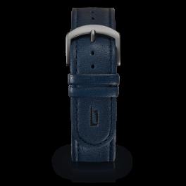 Leather strap - blue-dark-silver